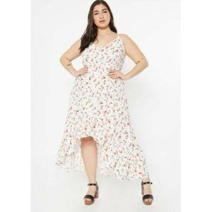 Rue21 Ivory Floral Print High Low Ruffle Hem Dress